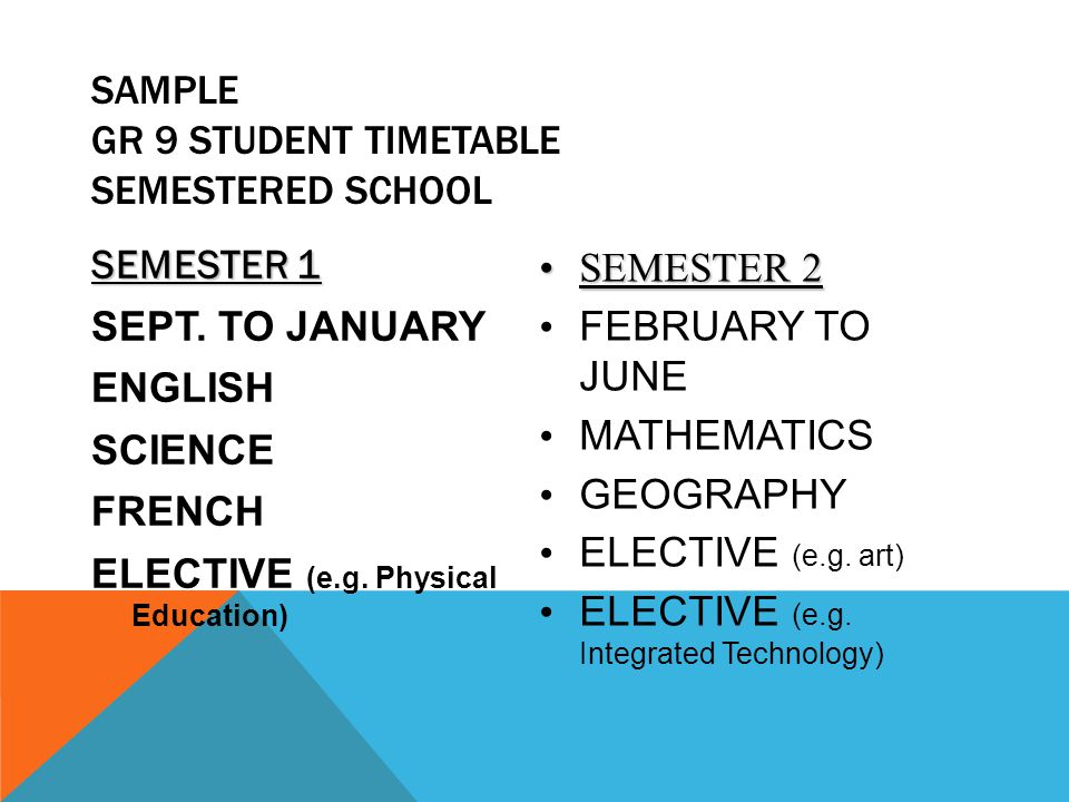SAMPLE GR 9 STUDENT TIMETABLE SEMESTERED SCHOOL SEMESTER 1 SEPT. TO JANUARY ENGLISH SCIENCE FRENCH ELECTIVE (e.g. Physical Education) SEMESTER 2SEMEST
