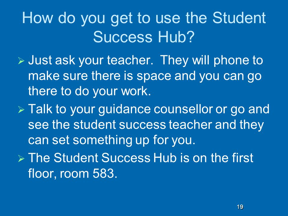 How do you get to use the Student Success Hub.  Just ask your teacher.
