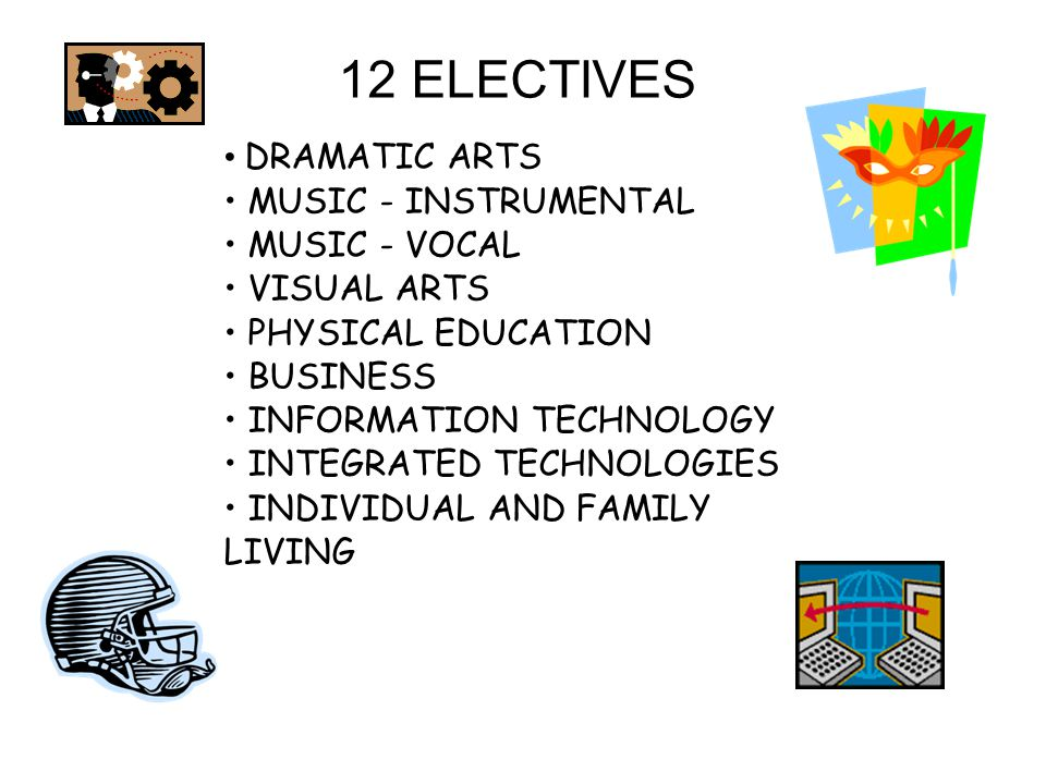 12 ELECTIVES DRAMATIC ARTS MUSIC - INSTRUMENTAL MUSIC - VOCAL VISUAL ARTS PHYSICAL EDUCATION BUSINESS INFORMATION TECHNOLOGY INTEGRATED TECHNOLOGIES INDIVIDUAL AND FAMILY LIVING