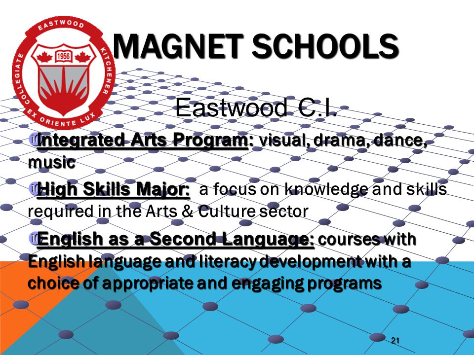 21 MAGNET SCHOOLS  Integrated Arts Program: visual, drama, dance, music  High Skills Major :  High Skills Major : a focus on knowledge and skills r