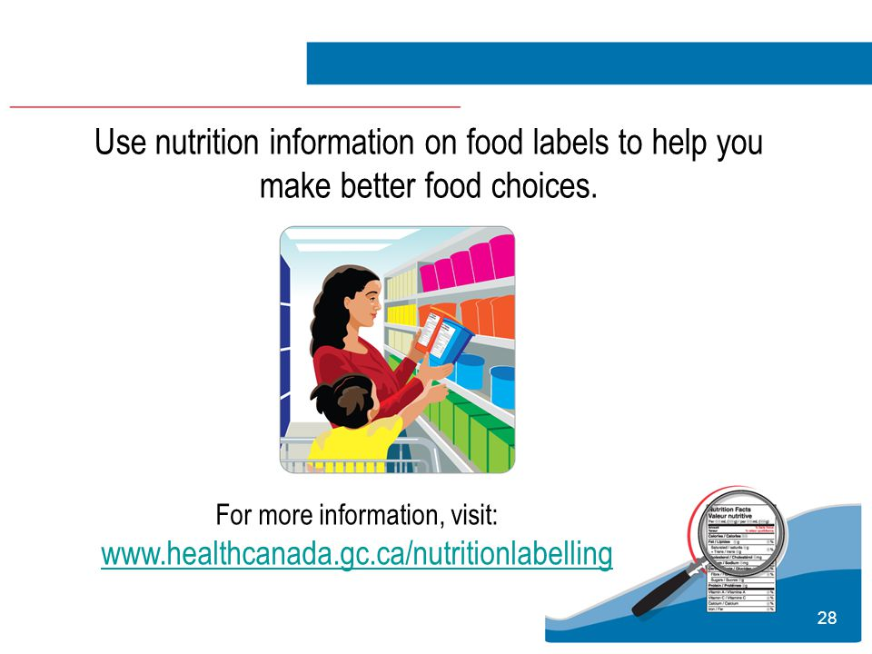 28 Use nutrition information on food labels to help you make better food choices.