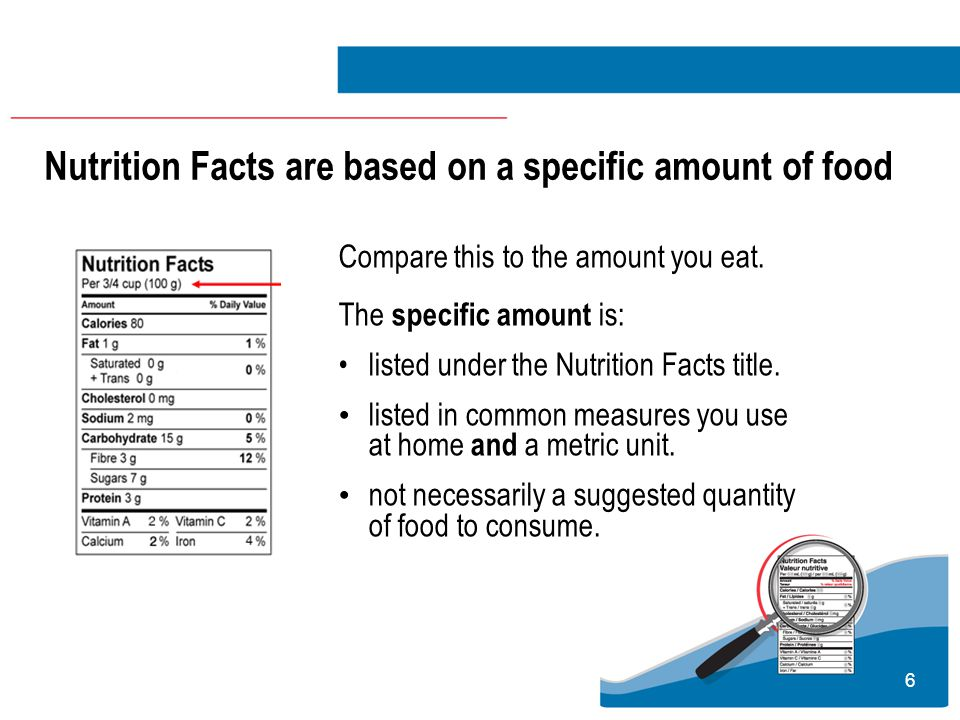 27 Nutrition Labelling Summary Use Nutrition Facts, the ingredient list, nutrition claims and health claims to make informed food choices.