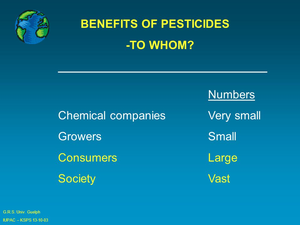 G.R.S. Univ. Guelph IUPAC – KSPS BENEFITS OF PESTICIDES -TO WHOM.