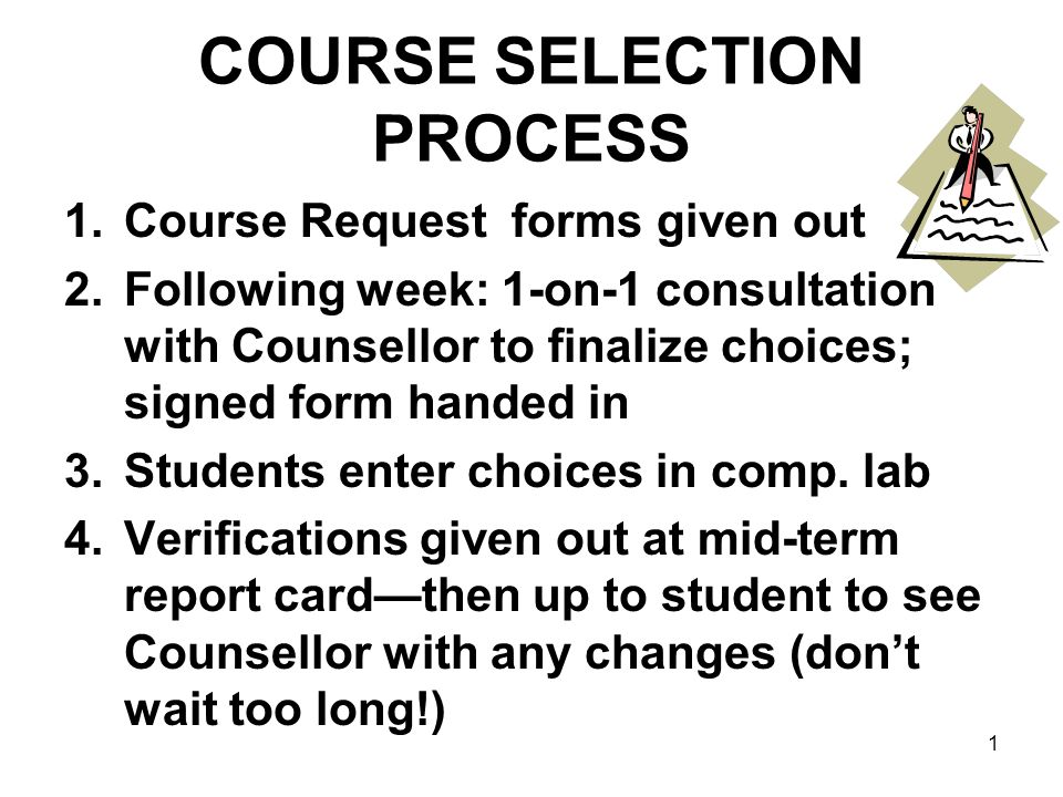 COURSE SELECTION PROCESS 1.Course Request forms given out 2.Following week: 1-on-1 consultation with Counsellor to finalize choices; signed form handed in 3.Students enter choices in comp.
