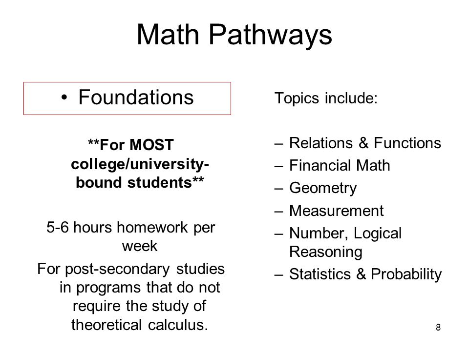 9 Math Pathways Apprenticeship & Workplace 3-4 hours homework per week Good for entry into majority of trades and other jobs in the work force.