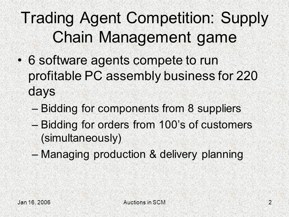 Jan 16, 2006Auctions in SCM3 Auction Descriptions Cheat-sheets Agent valuations Analogs