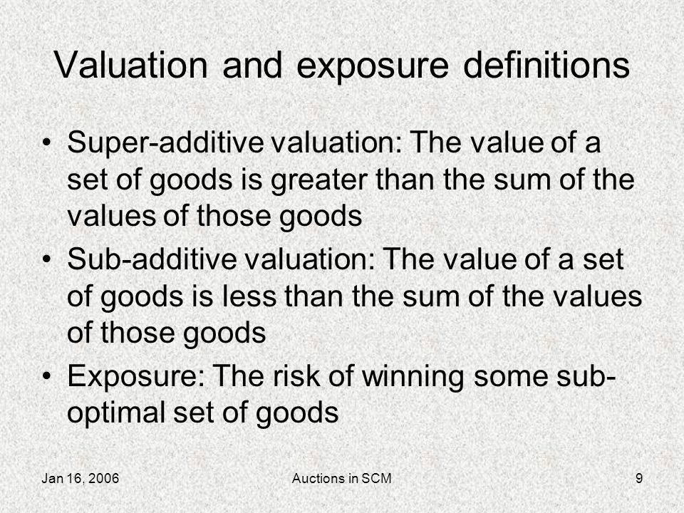 Jan 16, 2006Auctions in SCM10 Exposure in SCM In isolation, every good has negative value: –Components cost money to store –Customers charge for missed shipments Super-additive: Only matched sets (components and orders) can turn profit Sub-additive: Too many matched sets will overwhelm production capacity and cause loss