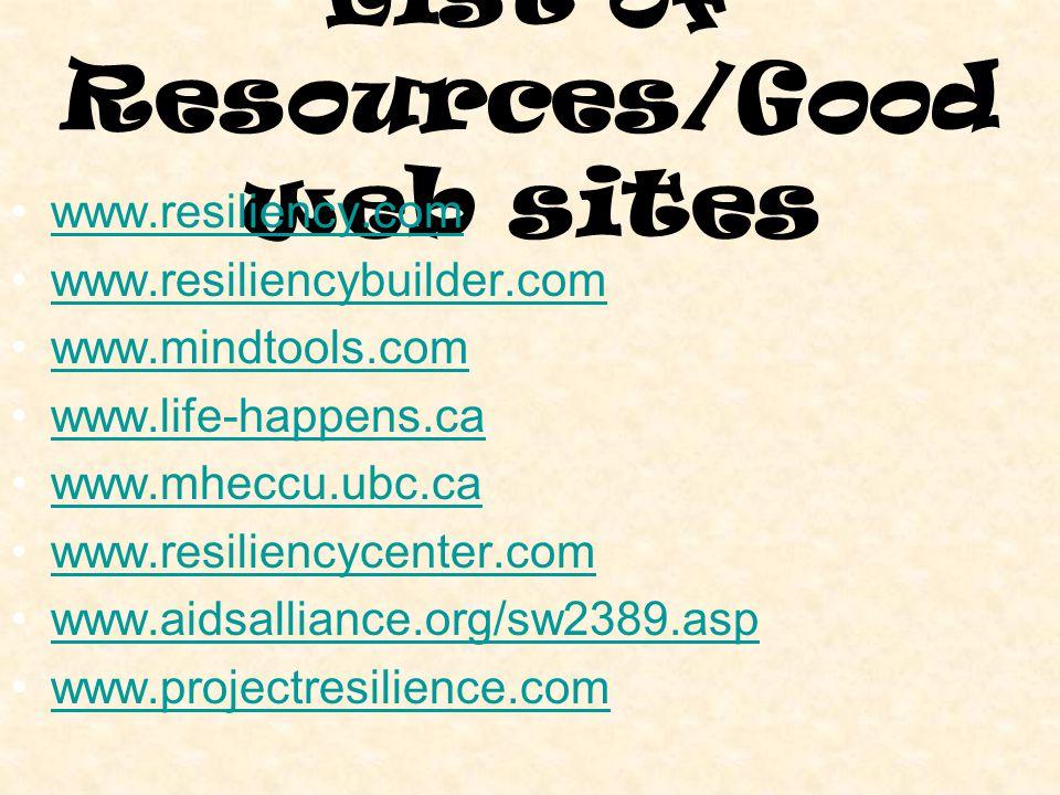 List of Resources/Good web sites www.resiliency.com www.resiliencybuilder.com www.mindtools.com www.life-happens.ca www.mheccu.ubc.ca www.resiliencycenter.com www.aidsalliance.org/sw2389.asp www.projectresilience.com
