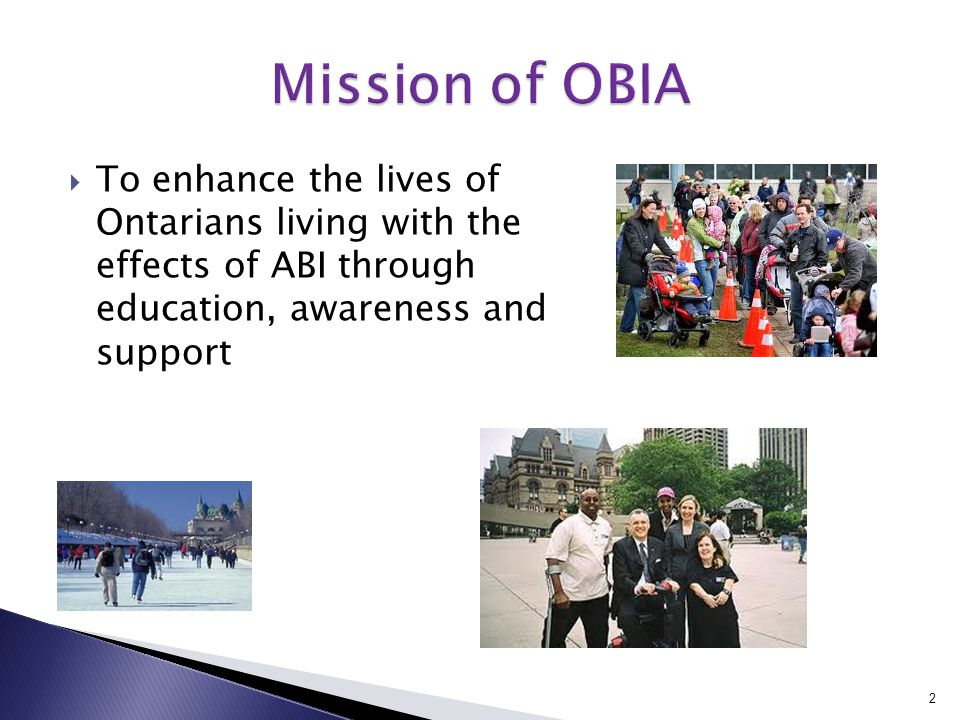 To enhance the lives of Ontarians living with the effects of ABI through education, awareness and support 2