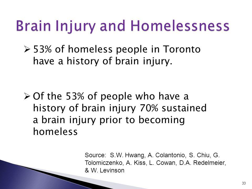 33 Source: S.W. Hwang, A. Colantonio, S. Chiu, G. Tolomiczenko, A. Kiss, L. Cowan, D.A. Redelmeier, & W. Levinson  53% of homeless people in Toronto