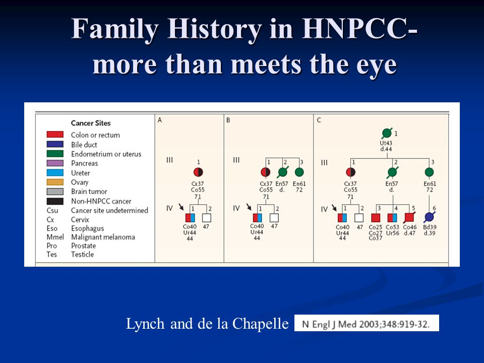 Family History in HNPCC- more than meets the eye Lynch and de la Chapelle