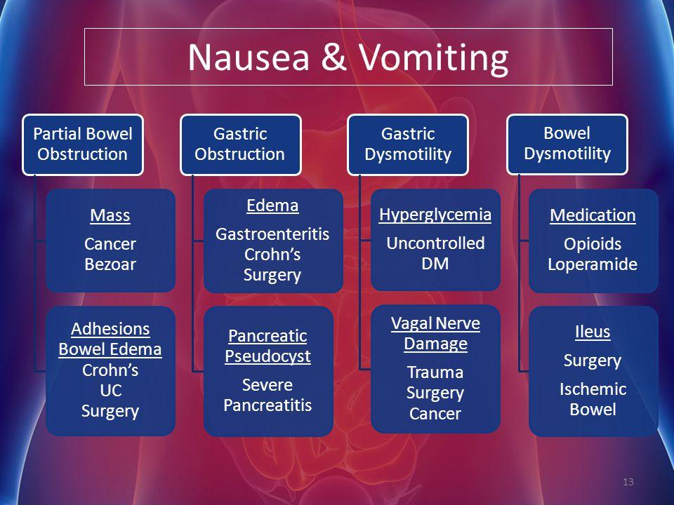 Nausea & Vomiting Partial Bowel Obstruction Mass Cancer Bezoar Adhesions Bowel Edema Crohn's UC Surgery Gastric Obstruction Edema Gastroenteritis Croh