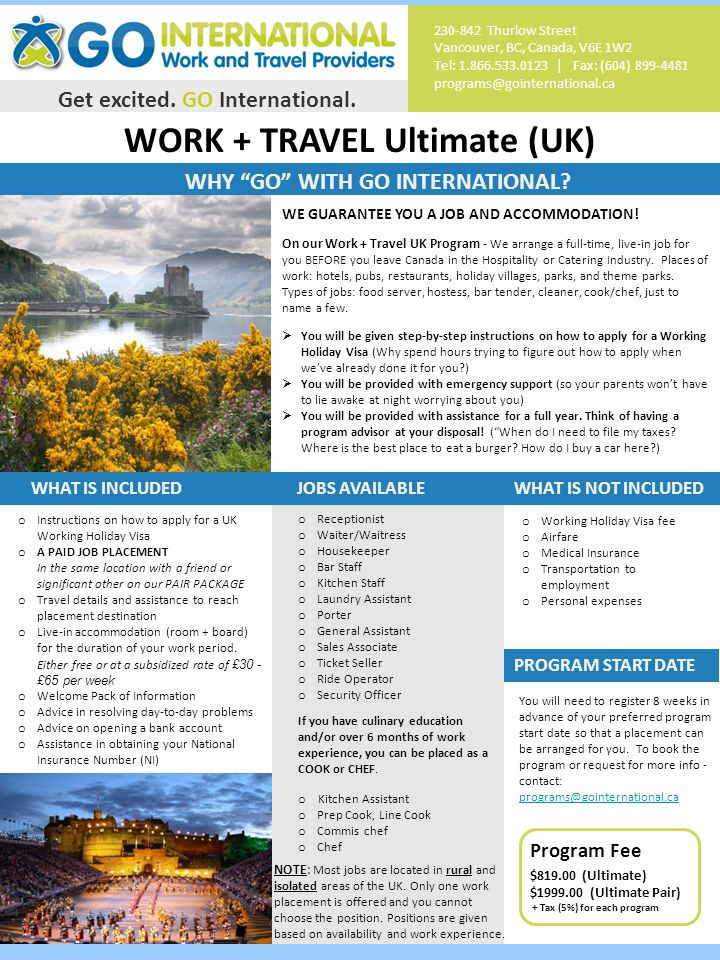 WORK + TRAVEL Ultimate (UK) Get excited. GO International.