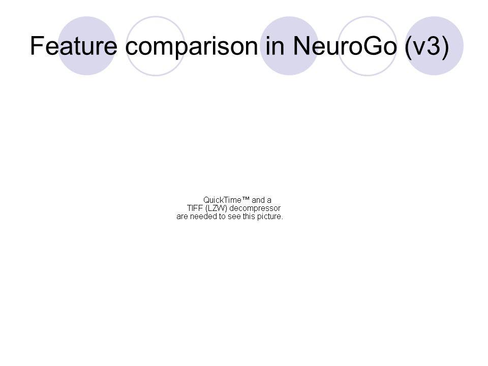 Feature comparison in NeuroGo (v3)