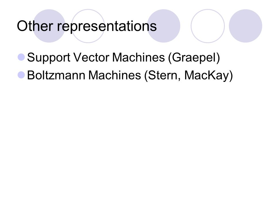 Other representations Support Vector Machines (Graepel) Boltzmann Machines (Stern, MacKay)