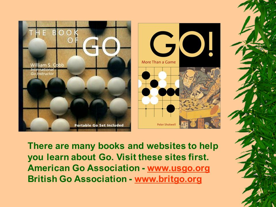 There are many books and websites to help you learn about Go.