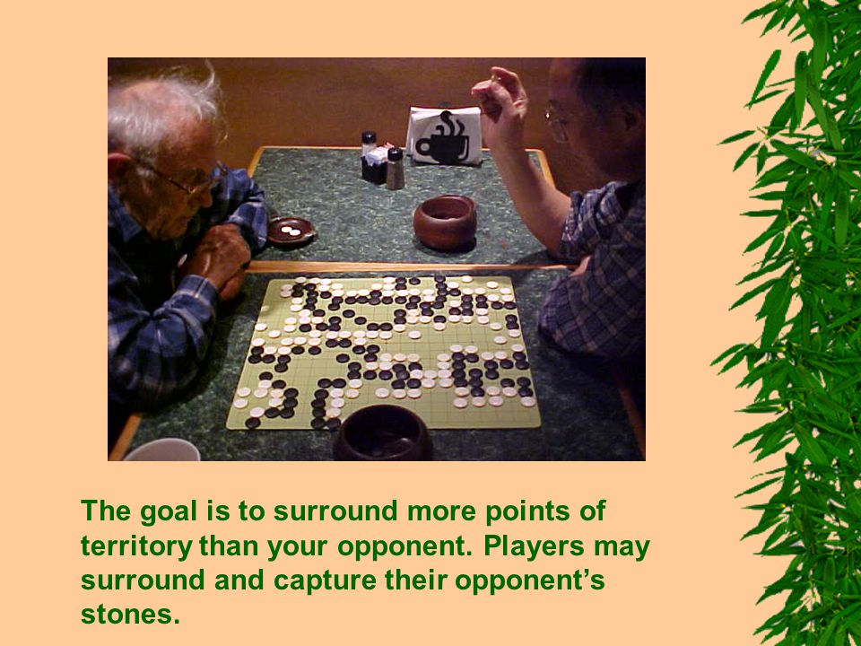 The goal is to surround more points of territory than your opponent.