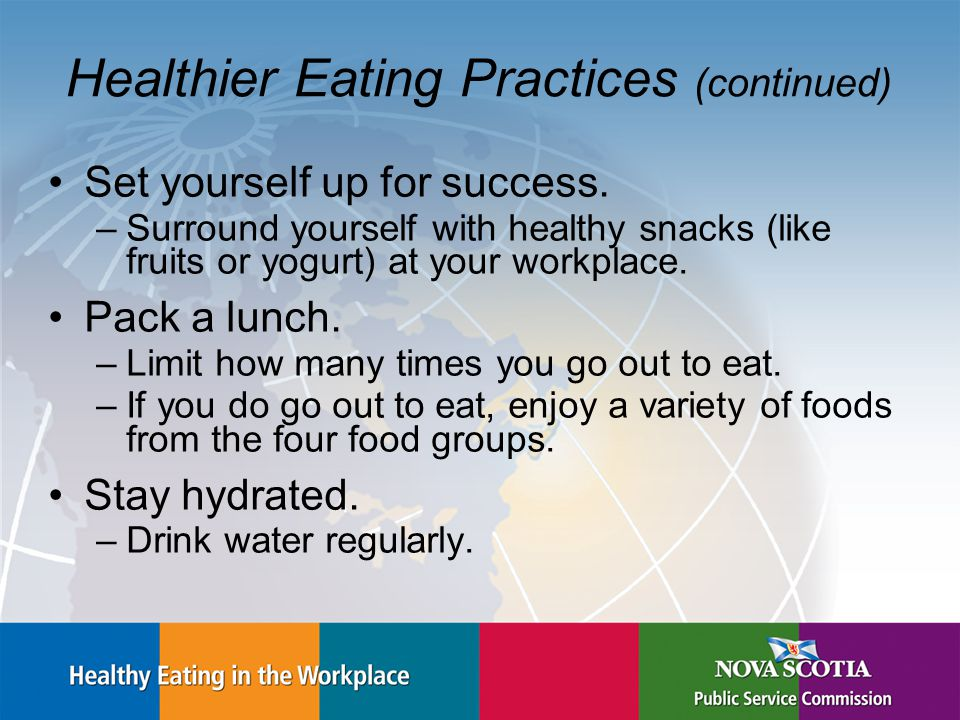 Healthier Eating Practices (continued) Set yourself up for success.