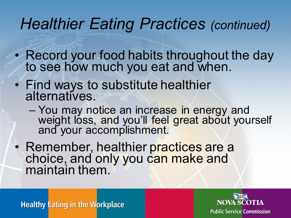 Healthier Eating Practices (continued) Record your food habits throughout the day to see how much you eat and when.