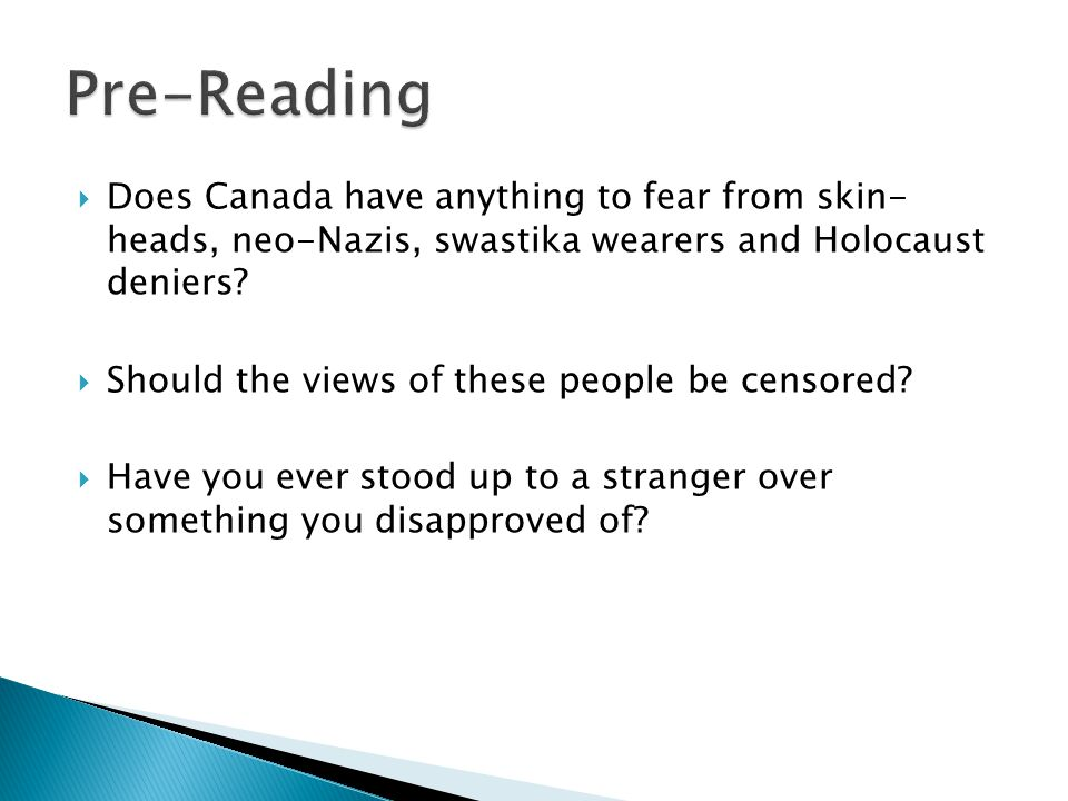  Does Canada have anything to fear from skin- heads, neo-Nazis, swastika wearers and Holocaust deniers.