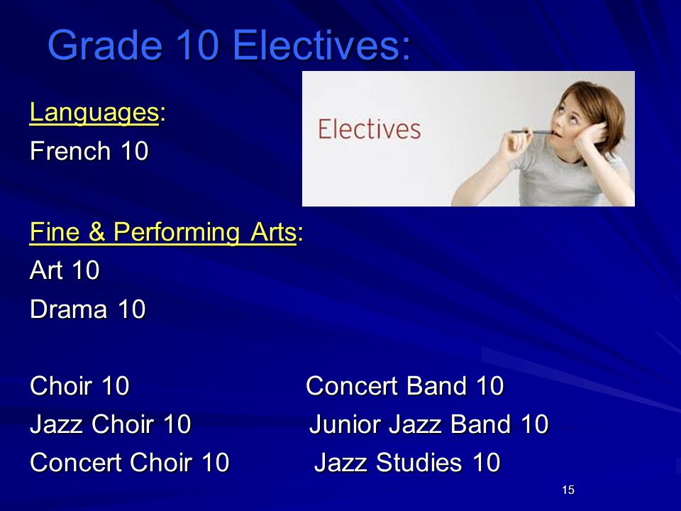 15 Languages: French 10 Fine & Performing Arts: Art 10 Drama 10 Choir 10 Concert Band 10 Jazz Choir 10 Junior Jazz Band 10 Concert Choir 10 Jazz Studies 10 Grade 10 Electives: