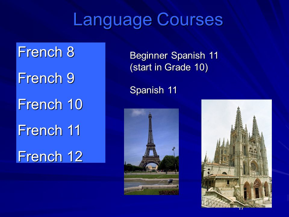 17 French 8 French 9 French 10 French 11 French 12 Language Courses Beginner Spanish 11 (start in Grade 10) Spanish 11