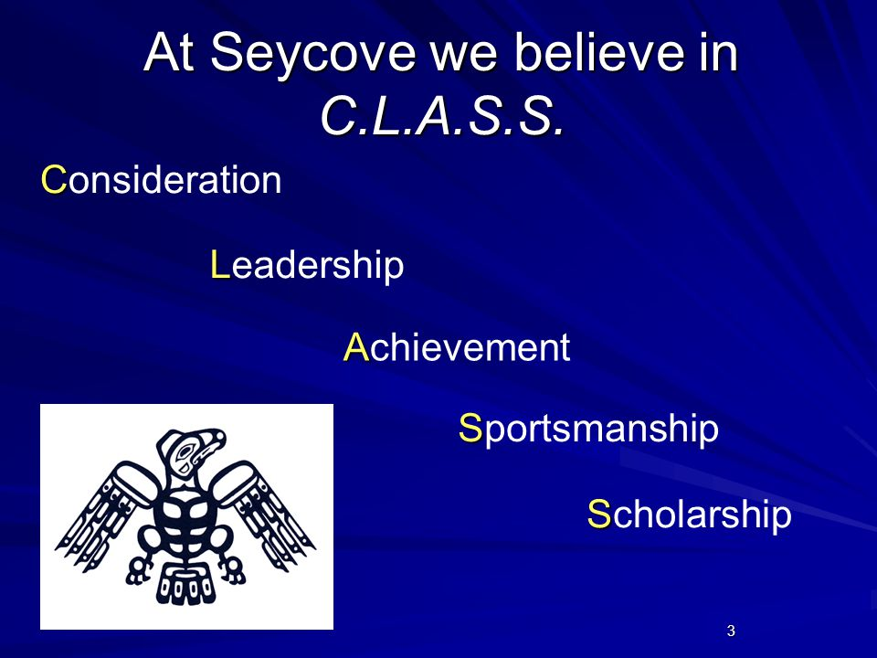 3 At Seycove we believe in C.L.A.S.S. C Consideration L Leadership A Achievement S Sportsmanship S Scholarship