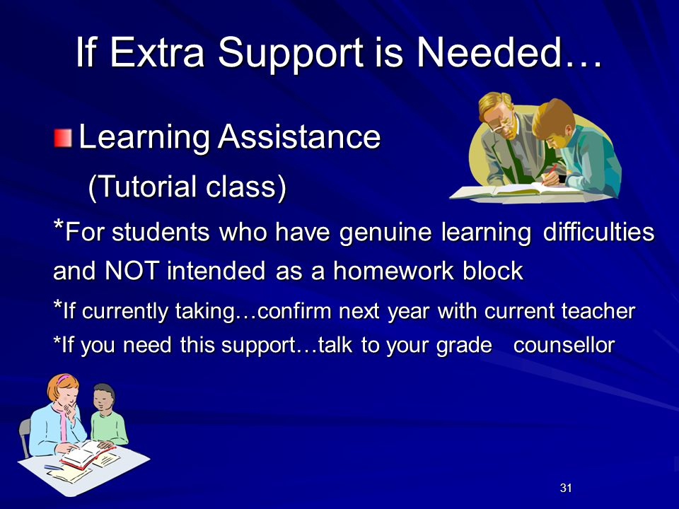 31 If Extra Support is Needed… Learning Assistance (Tutorial class) (Tutorial class) * For students who have genuine learning difficulties and NOT intended as a homework block * If currently taking…confirm next year with current teacher *If you need this support…talk to your grade counsellor