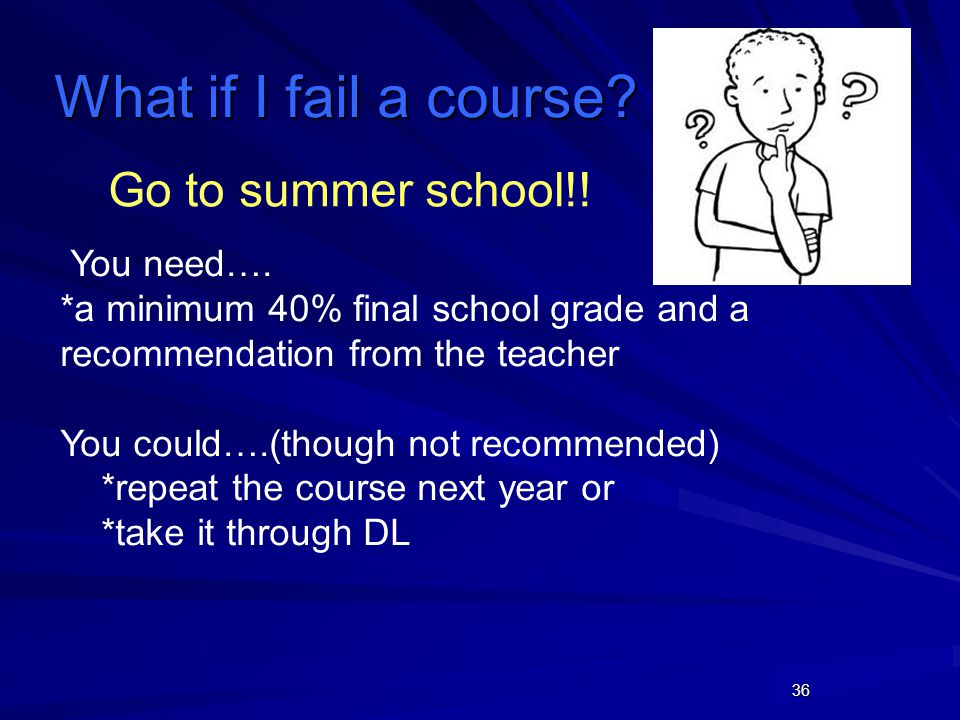 36 Go to summer school!. You need….