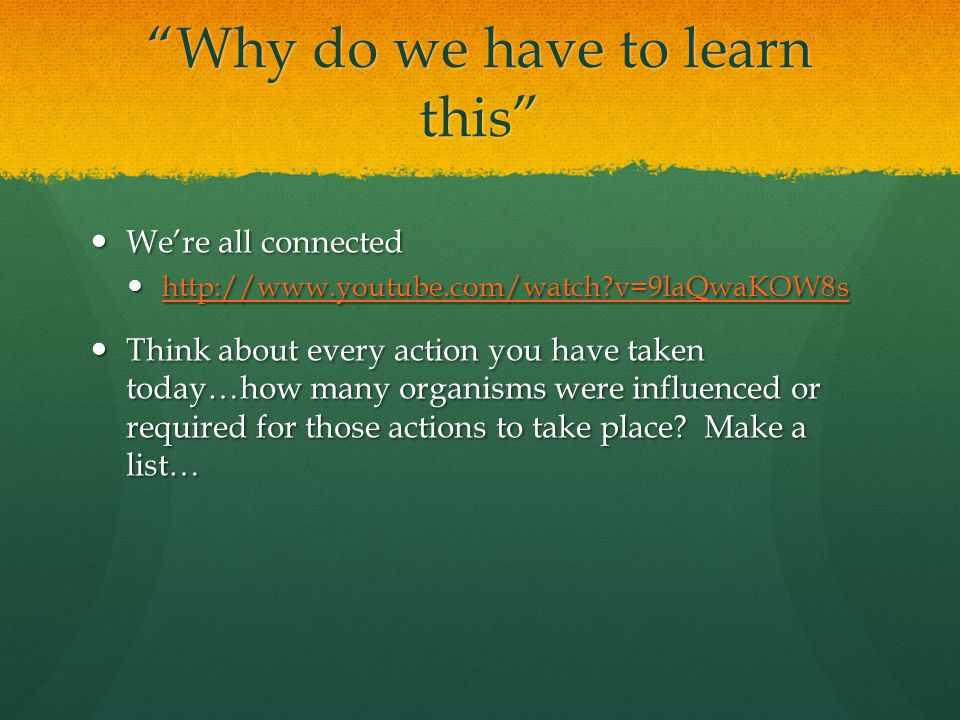 Why do we have to learn this We're all connected We're all connected http://www.youtube.com/watch v=9laQwaKOW8s http://www.youtube.com/watch v=9laQwaKOW8s http://www.youtube.com/watch v=9laQwaKOW8s Think about every action you have taken today…how many organisms were influenced or required for those actions to take place.