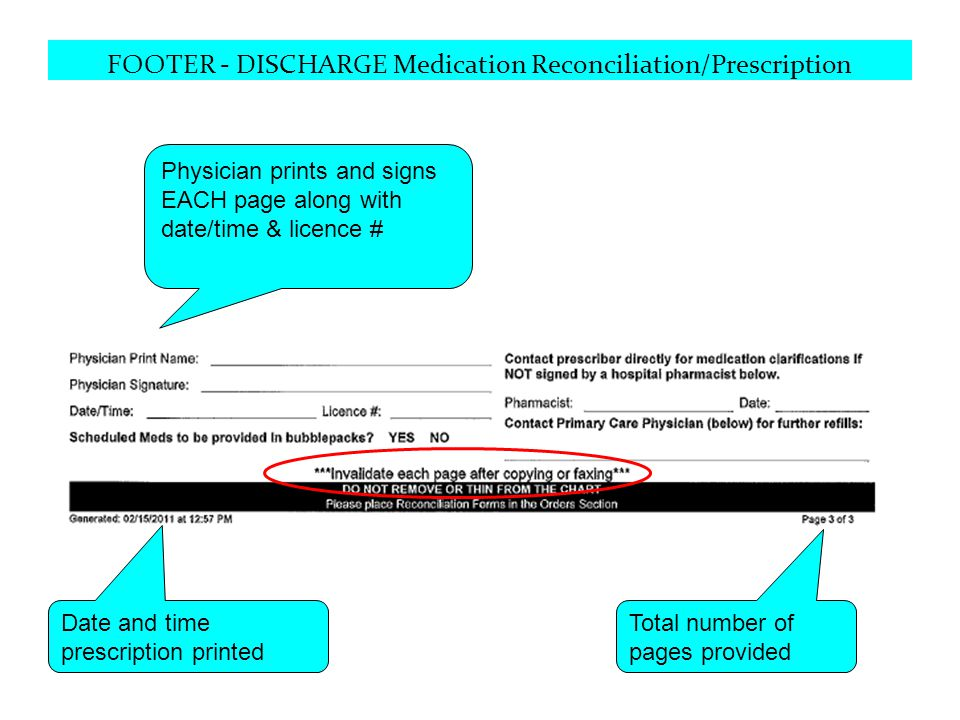 FOOTER - DISCHARGE Medication Reconciliation/Prescription Physician prints and signs EACH page along with date/time & licence # Date and time prescrip