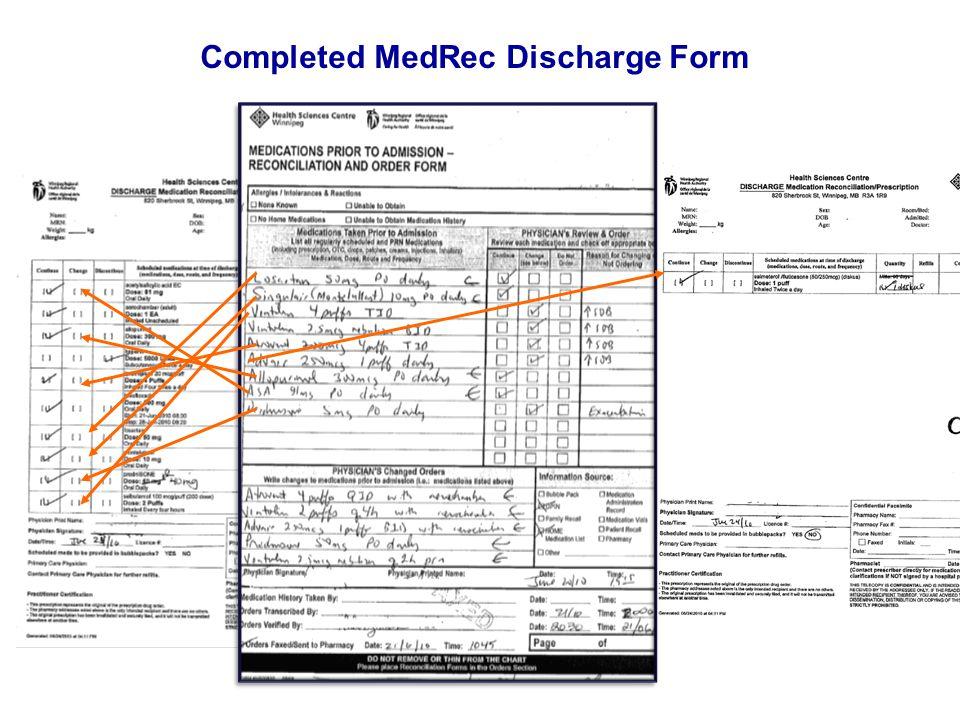 Completed MedRec Discharge Form