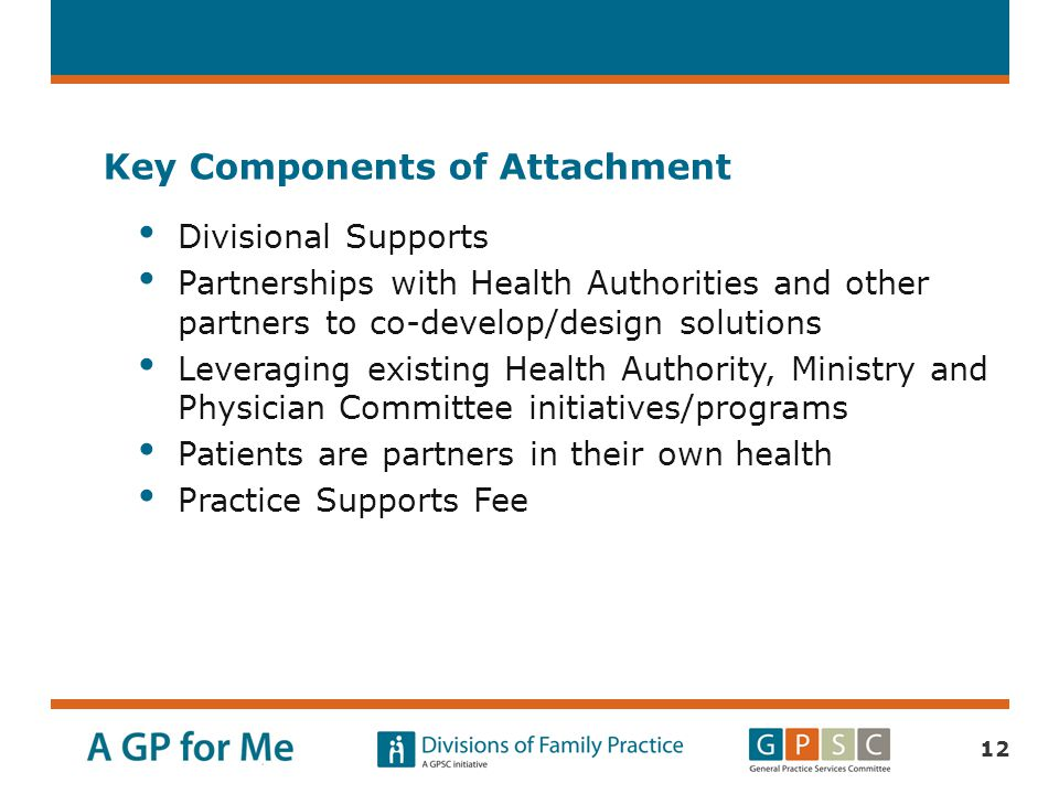 Key Components of Attachment Divisional Supports Partnerships with Health Authorities and other partners to co-develop/design solutions Leveraging exi