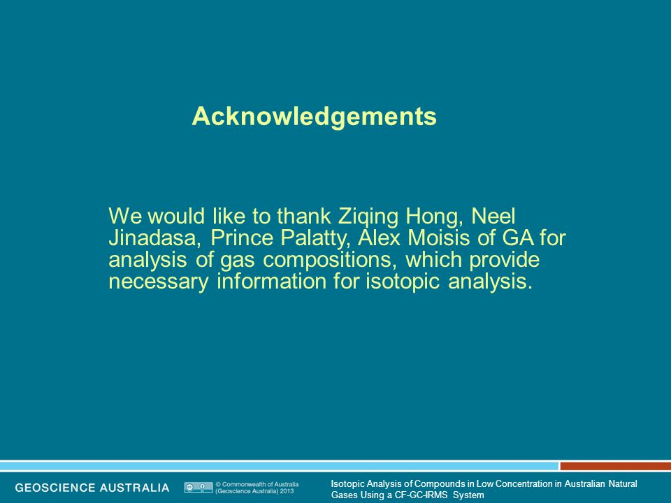 Acknowledgements We would like to thank Ziqing Hong, Neel Jinadasa, Prince Palatty, Alex Moisis of GA for analysis of gas compositions, which provide necessary information for isotopic analysis.