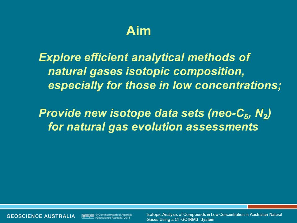 N 2 Results:  15 N N 2 (‰) N 2 mol % Terrestrial Marine from 'air' in meteoric water Air Isotopic Analysis of Compounds in Low Concentration in Australian Natural Gases Using a CF-GC-IRMS System