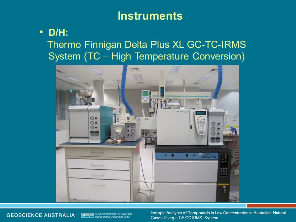 Instruments D/H: Thermo Finnigan Delta Plus XL GC-TC-IRMS System (TC – High Temperature Conversion) Isotopic Analysis of Compounds in Low Concentration in Australian Natural Gases Using a CF-GC-IRMS System