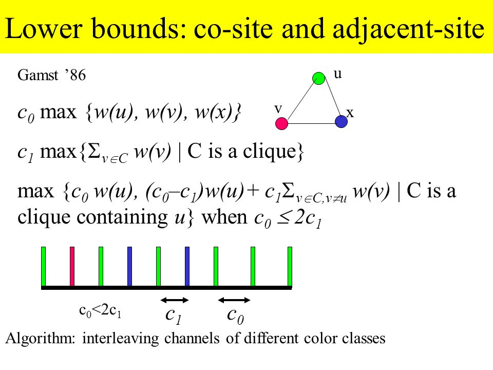 3-colorable graphs Distance between channels = max(c 0 /3, c 1 ) Borrowing impossible Distance between channels = max(c 0 /2, c 1 ) Borrowing possible Borrowed channels = change color  dynamic CA=online distributed CA Channels with ongoing calls can(not) be borrowed = (non)recoloring k-local algorithm: node changes channels based on weights within k cells