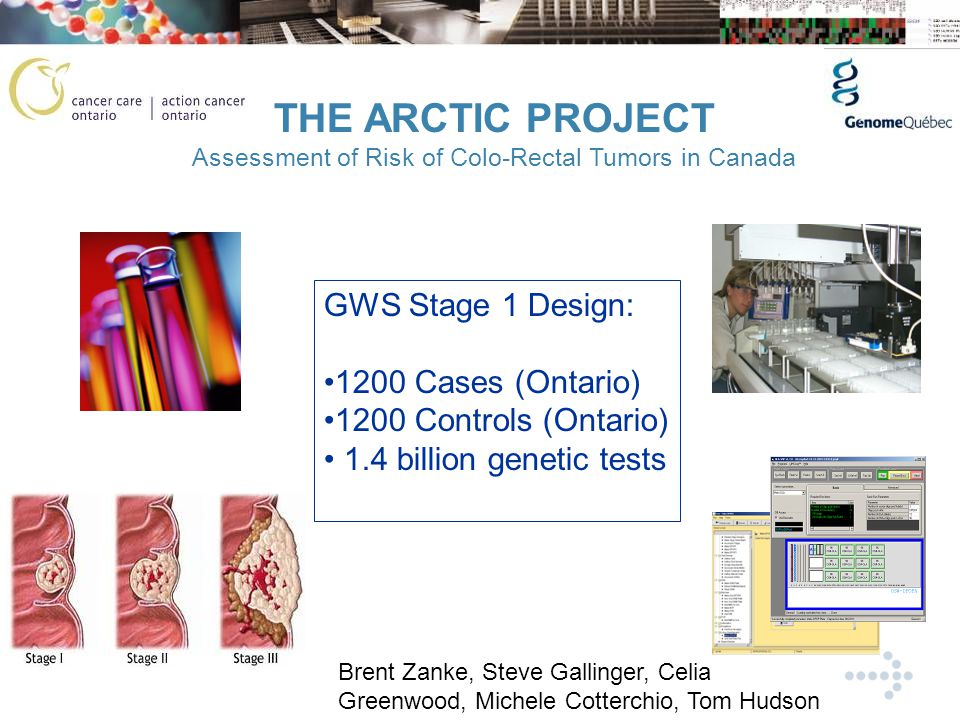 THE ARCTIC PROJECT Assessment of Risk of Colo-Rectal Tumors in Canada GWS Stage 1 Design: 1200 Cases (Ontario) 1200 Controls (Ontario) 1.4 billion genetic tests Brent Zanke, Steve Gallinger, Celia Greenwood, Michele Cotterchio, Tom Hudson