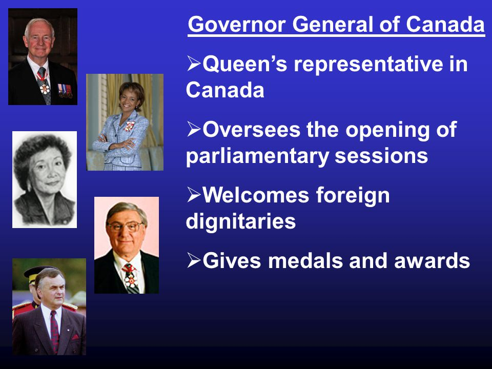 Governor General of Canada  Queen's representative in Canada  Oversees the opening of parliamentary sessions  Welcomes foreign dignitaries  Gives