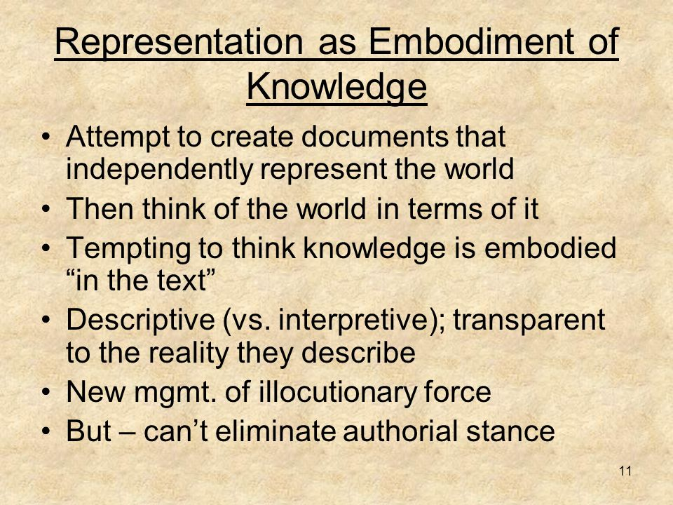 11 Representation as Embodiment of Knowledge Attempt to create documents that independently represent the world Then think of the world in terms of it