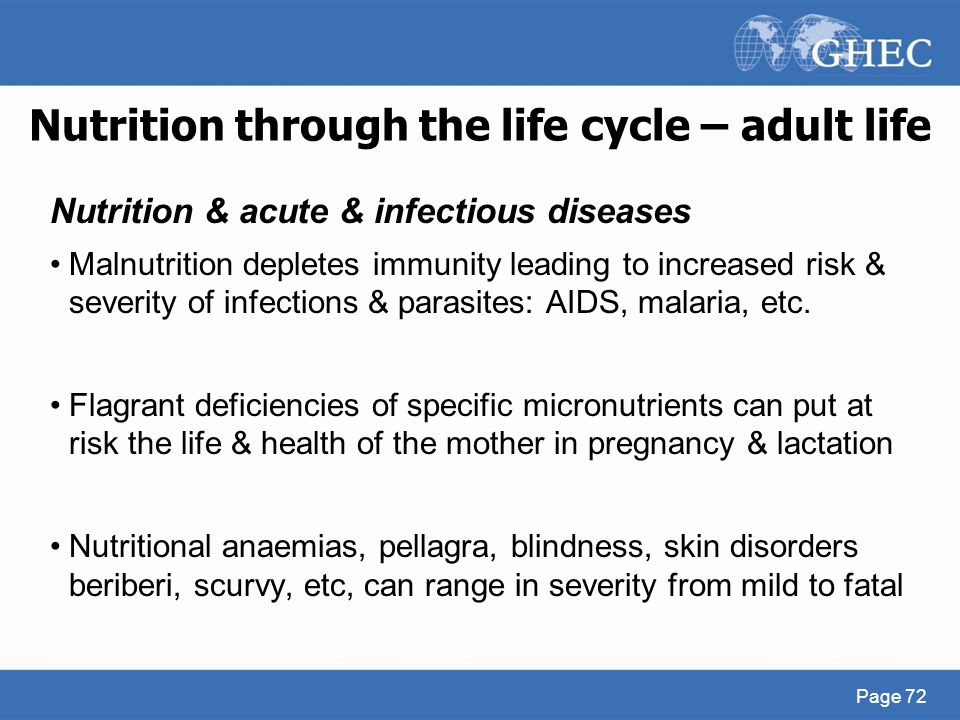 Nutrition through the life cycle – adult life Nutrition & acute & infectious diseases Malnutrition depletes immunity leading to increased risk & sever