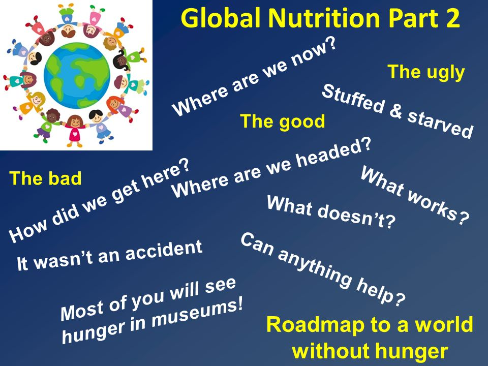 Global Nutrition Part 2 Roadmap to a world without hunger Where are we headed.