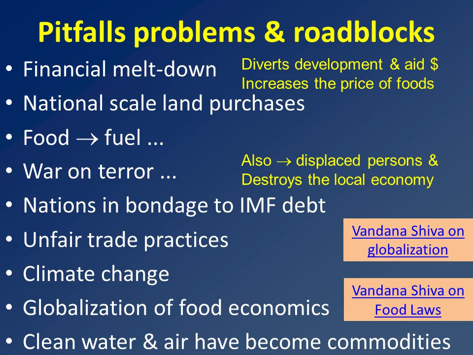 Pitfalls problems & roadblocks Financial melt-down National scale land purchases Food  fuel...