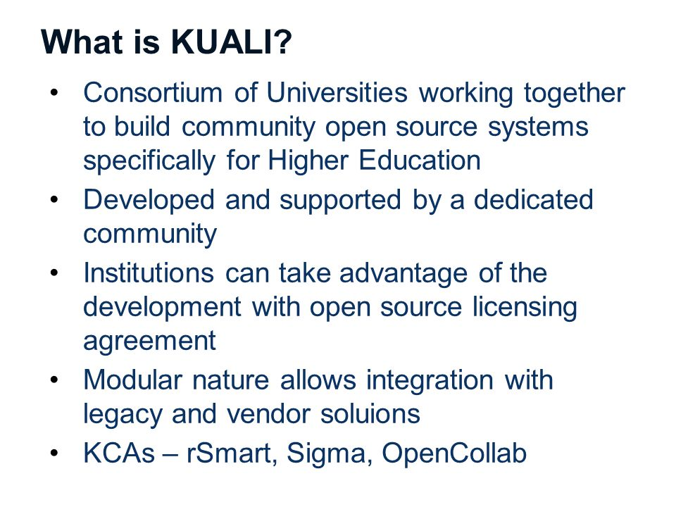 What is KUALI.