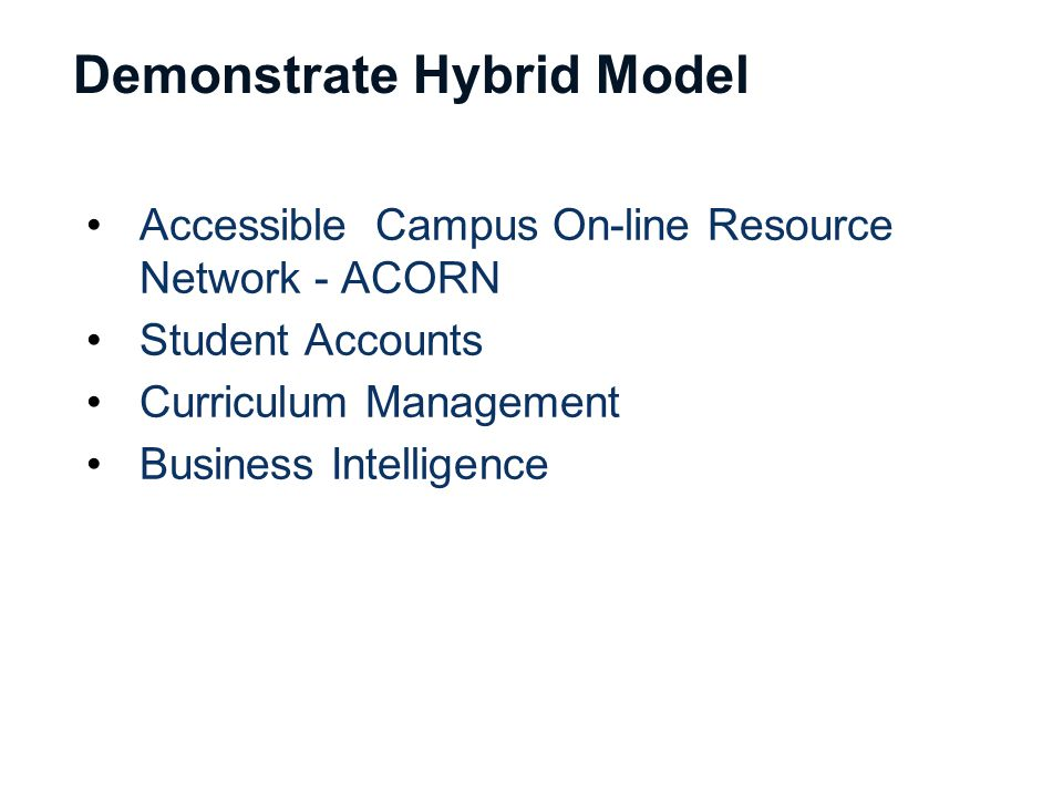 Demonstrate Hybrid Model Accessible Campus On-line Resource Network - ACORN Student Accounts Curriculum Management Business Intelligence