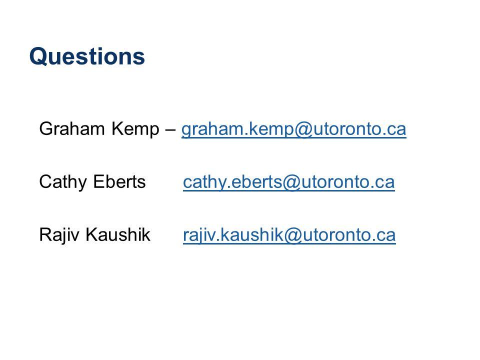 Questions Graham Kemp – graham.kemp@utoronto.cagraham.kemp@utoronto.ca Cathy Eberts cathy.eberts@utoronto.cacathy.eberts@utoronto.ca Rajiv Kaushik rajiv.kaushik@utoronto.carajiv.kaushik@utoronto.ca