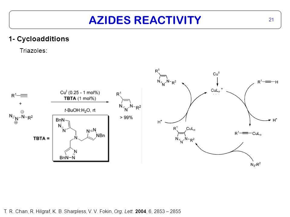 AZIDES REACTIVITY 22 1- Cycloadditions Tetrazoles: Intermolecular 1,2 Intramolecular 3 1 R.