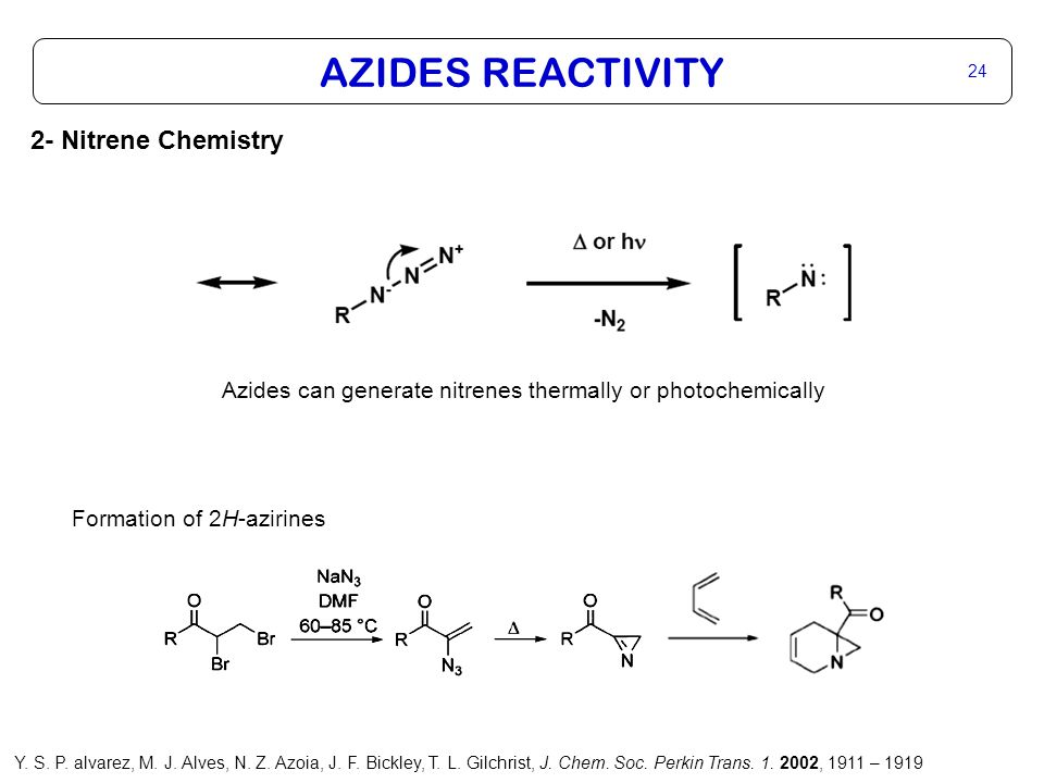 AZIDES REACTIVITY 24 2- Nitrene Chemistry Azides can generate nitrenes thermally or photochemically Formation of 2H-azirines Y. S. P. alvarez, M. J. A