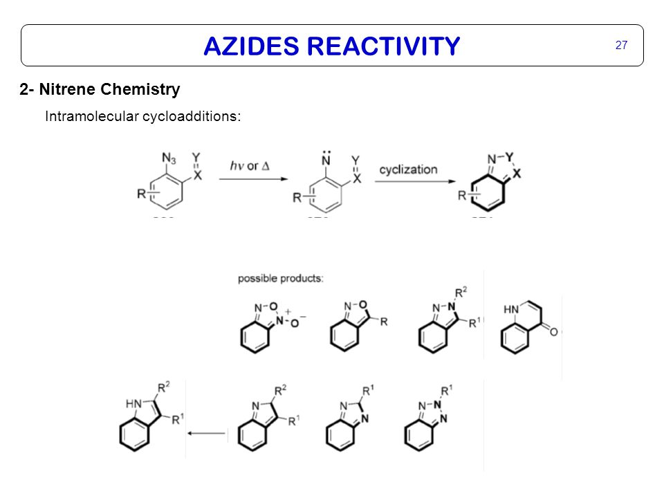 AZIDES REACTIVITY 28 2- Nitrene Chemistry Intramolecular cycloadditions: K.