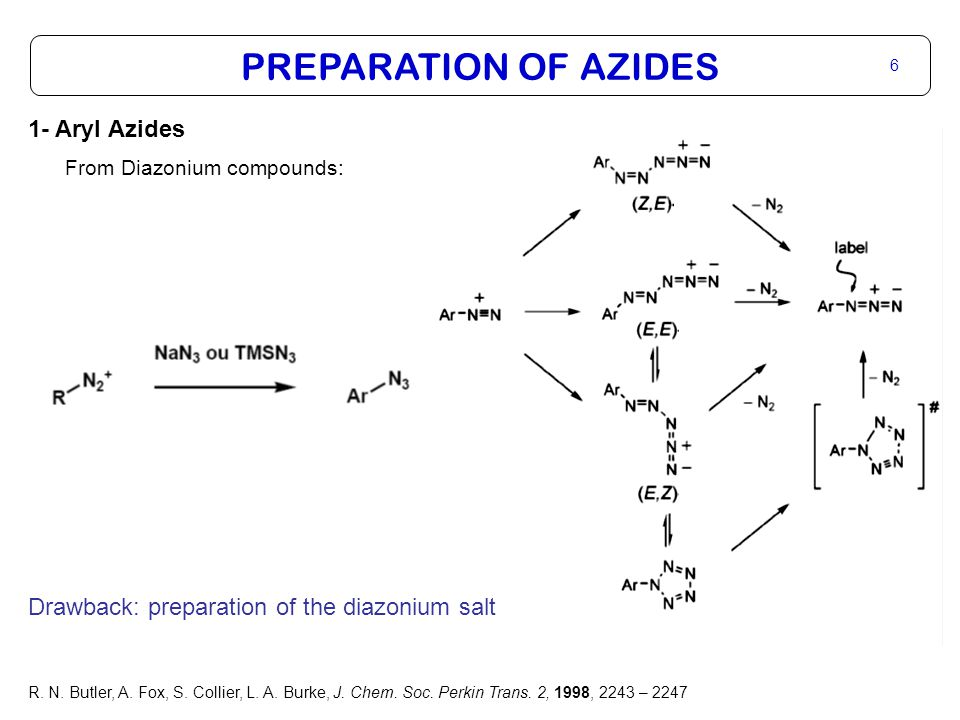 PREPARATION OF AZIDES 7 1- Aryl Azides From Diazonium compounds: S.